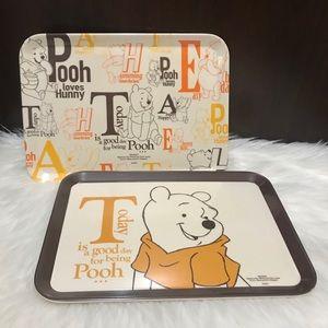 Disney Daiso Winnie the Pooh Bamboo Tray Set